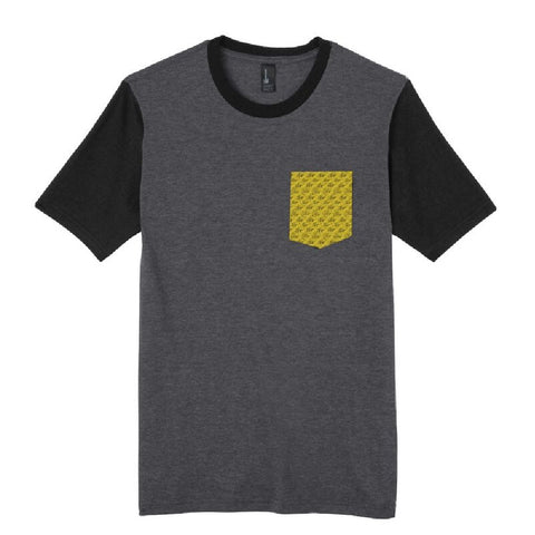 Wave Pattern Pocket T-Shirt - Charcoal/Gold
