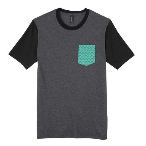 Wave Pattern Pocket T-Shirt - Charcoal/Teal