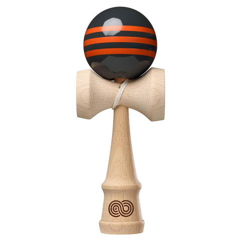 Kaizen Kendama - Triple Stripe - Charcoal with Orange Triple Stripe - Gloss