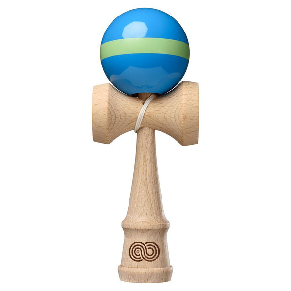 Kaizen Kendama Single Stripe - Aqua with Lime Green Stripe - Gloss