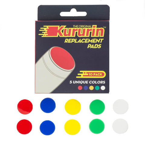 Kururin ® - Fidget Stick Replacement Pads - 10 Pack - 5 Colors - Red Blue Green Yellow White