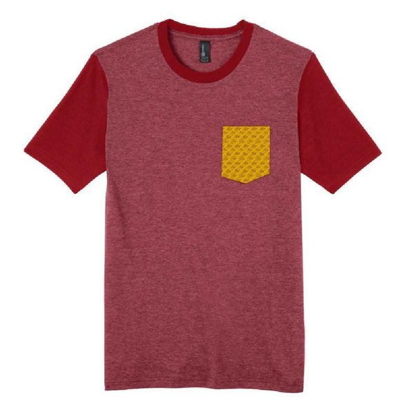 Wave Pattern Pocket T-Shirt - Red/Gold