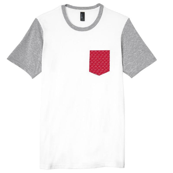 Wave Pattern Pocket T-Shirt - White/Red