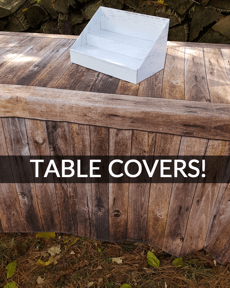 stack displays fitted table covers craft show product