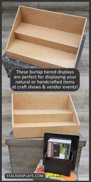Natural Burlap Cardboard Tiered Vendor Table Stack Display Shelves