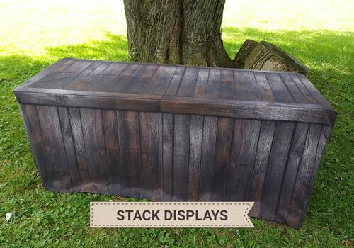 Fitted Table Cover - Dark Brown Wood Crate