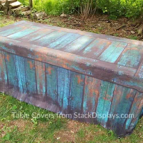 Teal Patina Fitted Table Covers that look like wood from Stack Displays