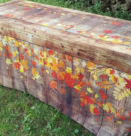Fall Fitted Table Covers for Craft Shows and Rustic Weddings