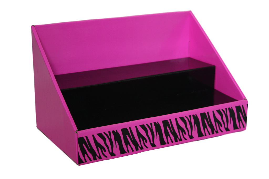 Cardboard Counter Display - Pink and Black - Black Zebra Design