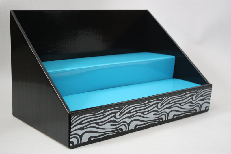 Cardboard Counter Display Black with Blue Insert / Black and White Zebra