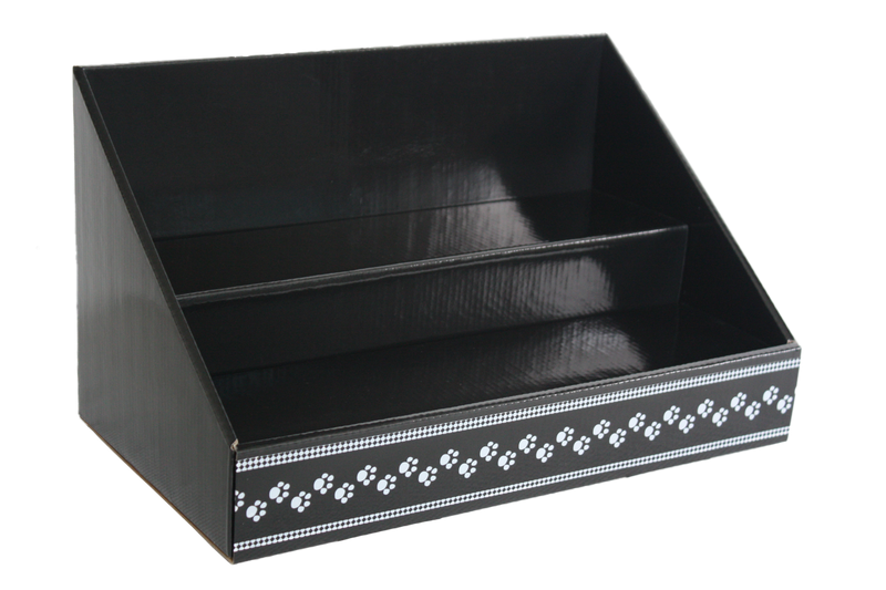 Cardboard Stack Display - Black Display with Paw Print Design