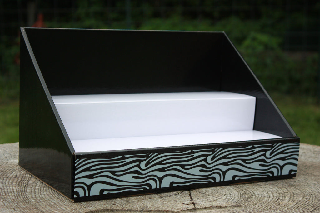 Cardboard Counter Display - Black with White Insert - Black and White Zebra Design