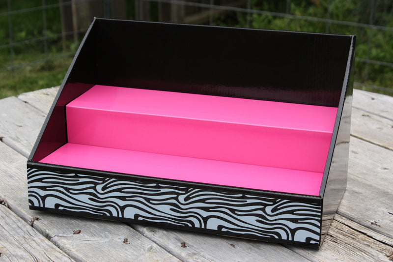 Cardboard Counter Display - Black with Pink Salmon Insert - White / Black Zebra Design
