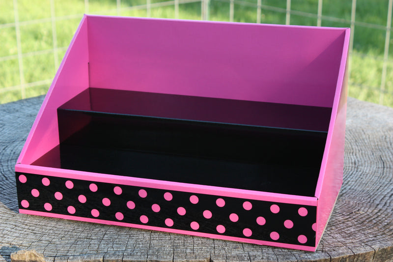 Cardboard Counter Display - Pink with Black & Polka Dot Design