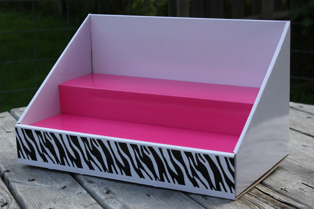 Cardboard Counter Display - White Display - Pink Salmon Insert - Zebra Design