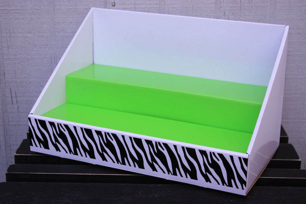 Cardboard Counter Display - White Display - Lime Green Insert - Black Zebra Design