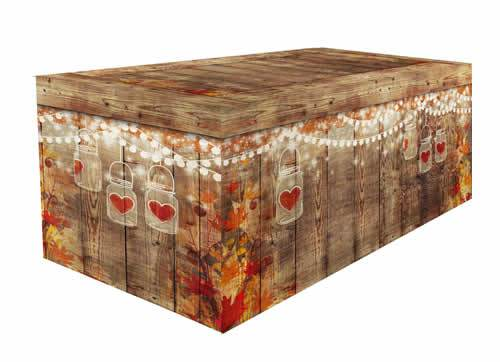 FITTED TABLE COVER - BARNWOOD FALL MASON JARS