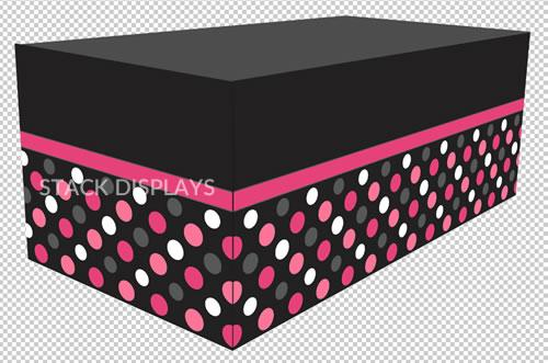 Stack Displays & Fitted Table Cover - Pink Polka Dots