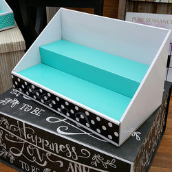 Cardboard Display - White Display with Teal Insert - Polka Dot Design