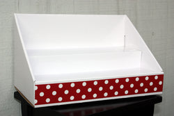 Cardboard Counter Display - White Display - Red Polka Dots