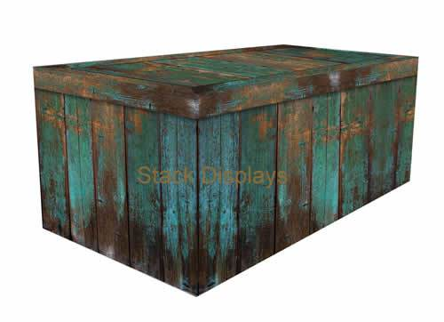 FITTED TABLE COVER - TEAL PATINA WOOD