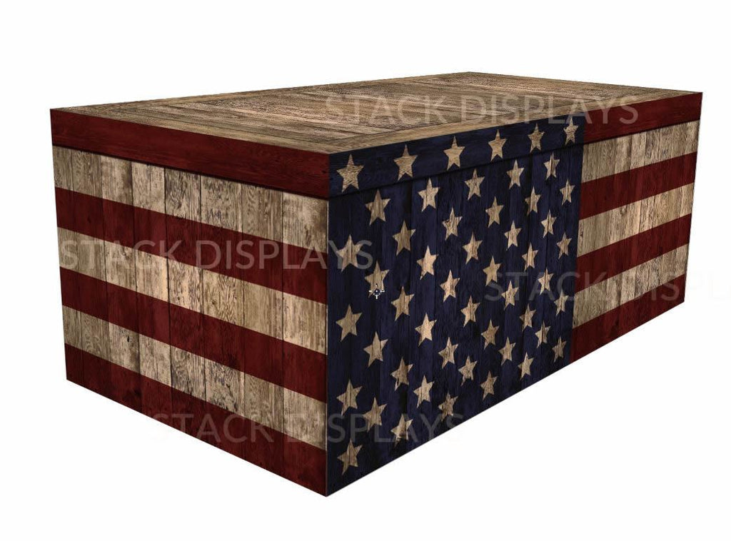 Fitted Table Cover - US Flag Wood Crate