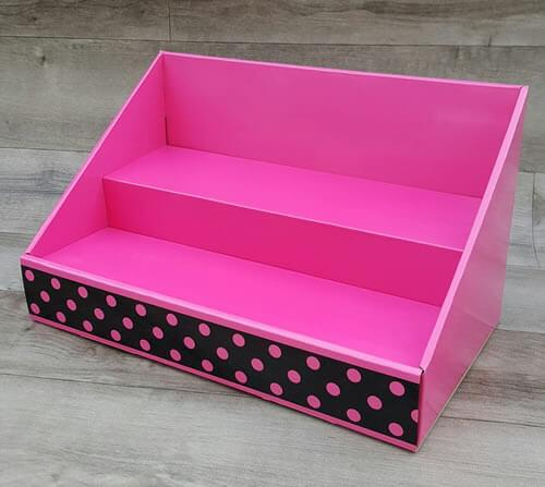 Cardboard Counter Display - Pink / Black Polka Dot Design