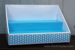 White Display with Blue Insert and Blue Polka Dot Design