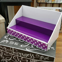 White Display | Purple Insert | Purple Polka Dot Design