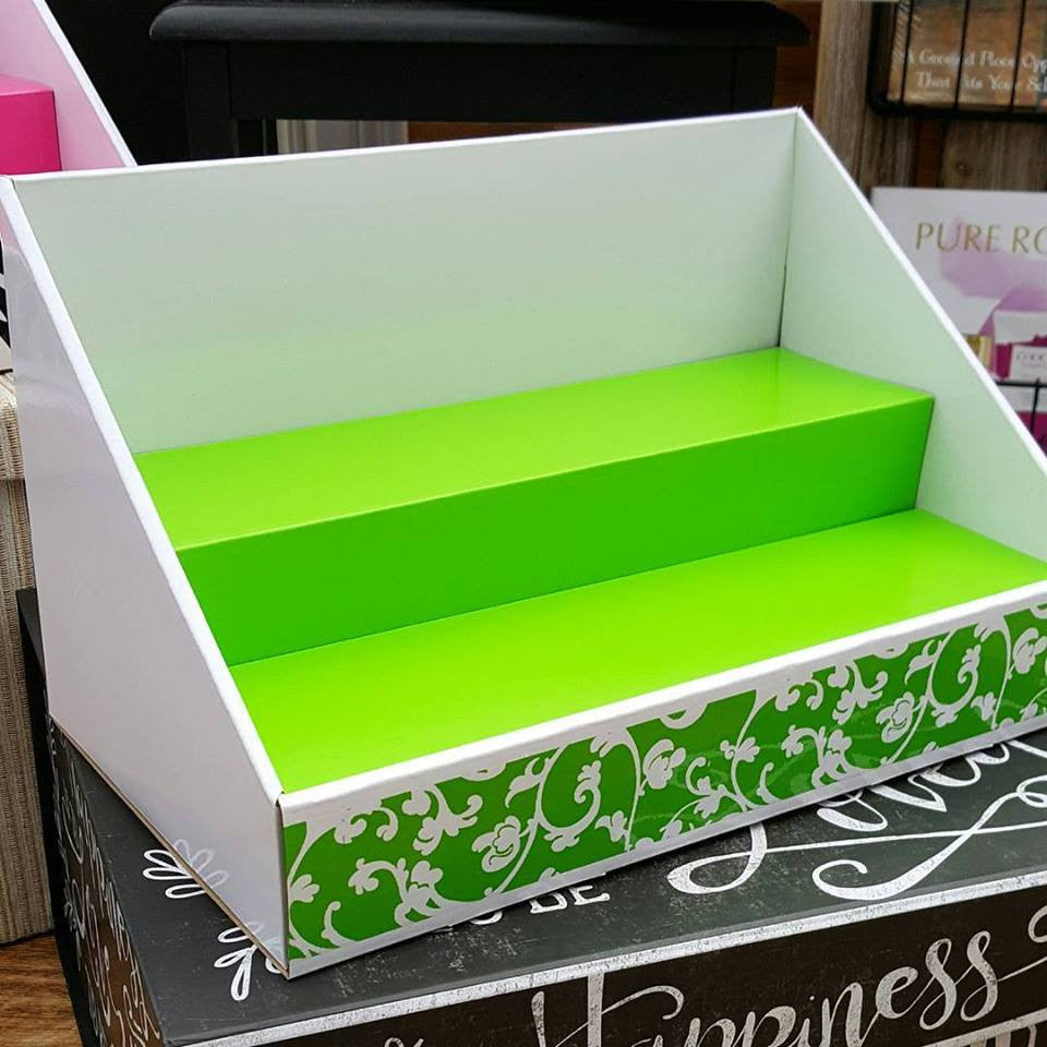 Cardboard Counter Display White - Lime Green Insert - Lime Green Scroll Design