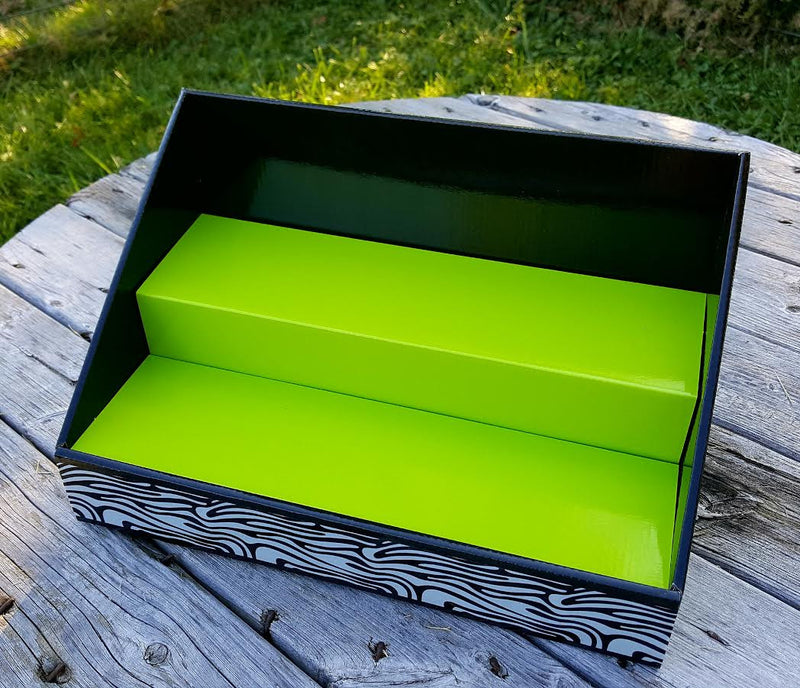 Cardboard Counter Display | Black | Lime Green Insert | Black & White Zebra Design