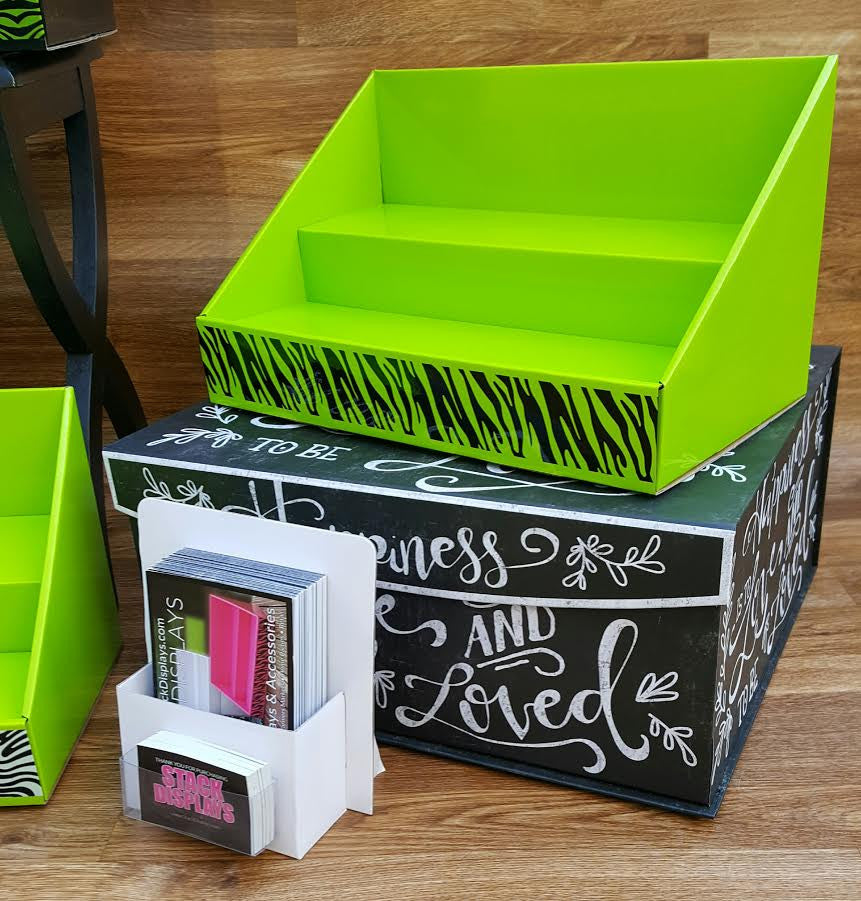 Cardboard Counter Display - Lime Green - Black Zebra Design