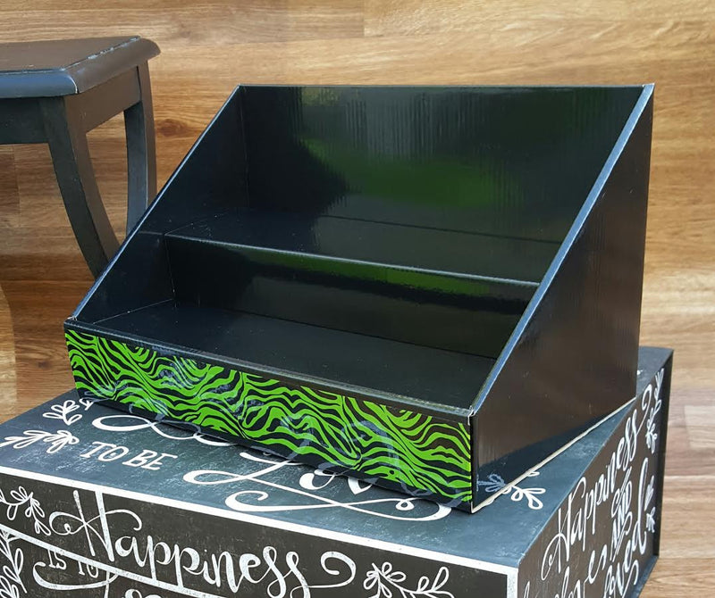 Cardboard Counter Display - Black with Lime Green - Black and Green Zebra Design