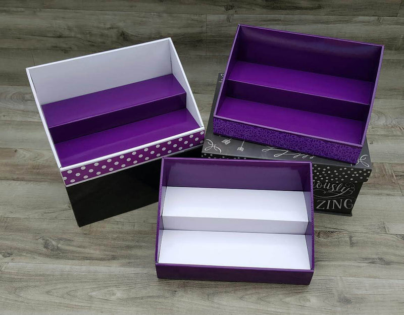 Cardboard Counter Display - Purple with Purple Floral Design