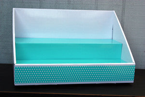 White Display | Teal Insert | Teal Polka Dot Design