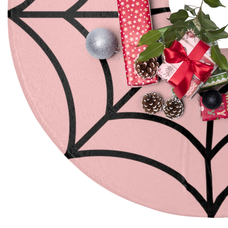 Pink with Black Spiderweb Christmas Tree Skirt