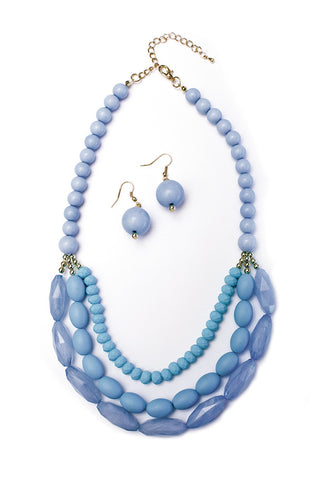 The Sandy Beaded Necklace & Earrings Set in Baby Blue and Lilac