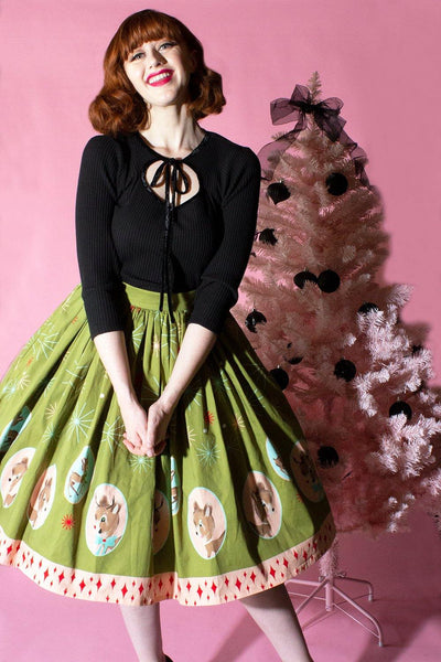 Deer Holidaze Gathered Skirt - The Oblong Box Shop