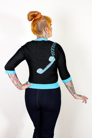 Hold On! Telephone Sweater Black and Blue - PRE-ORDER