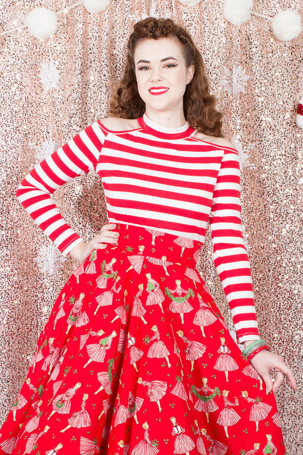 Candy Cane Dreams Red & White Stripe Top