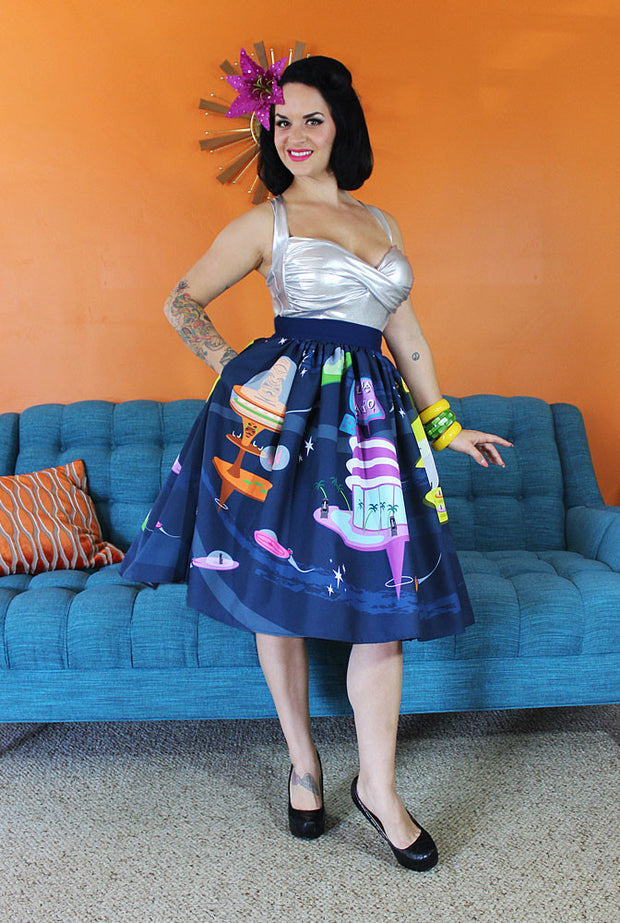 Moais in Space Novelty Print Gathered Skirt