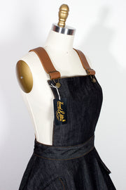 "TOBS Original ""Thread & Mitre"" Collection Denim Overall Flare Skirt Pinafore with Leather Straps"