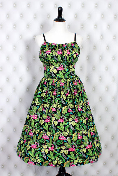 Flamingo Life Gathered Bust Novelty Print Dress FINAL SALE (9920257096)