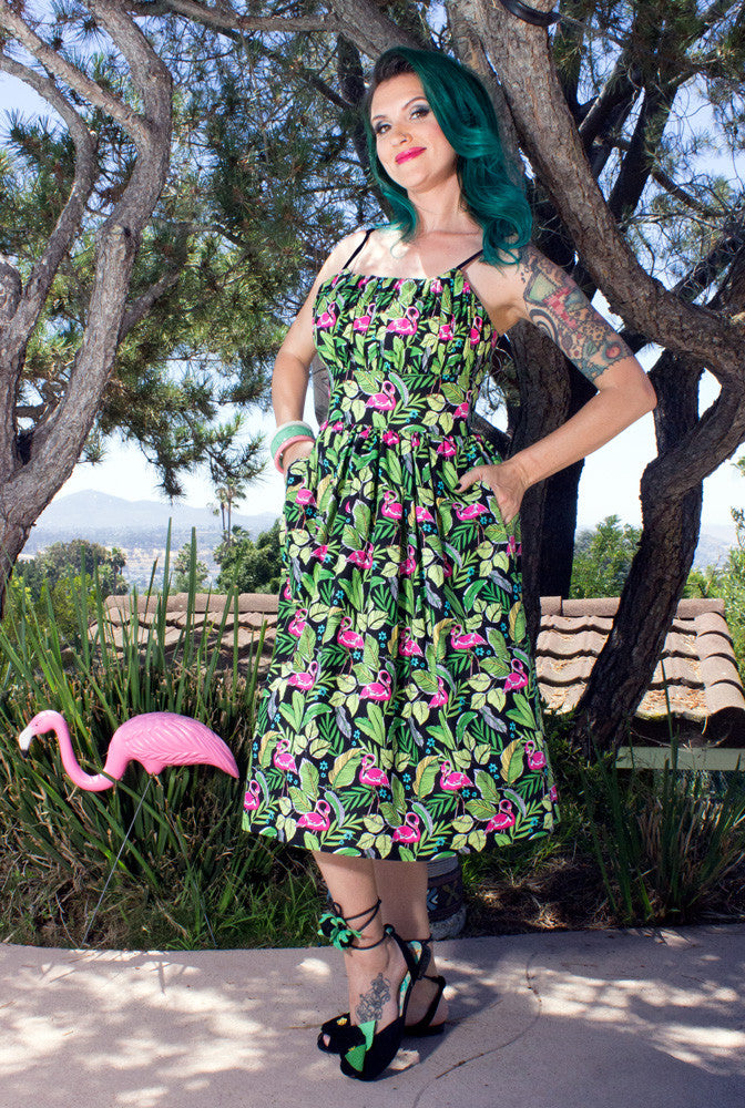 Flamingo Life Gathered Bust Novelty Print Dress