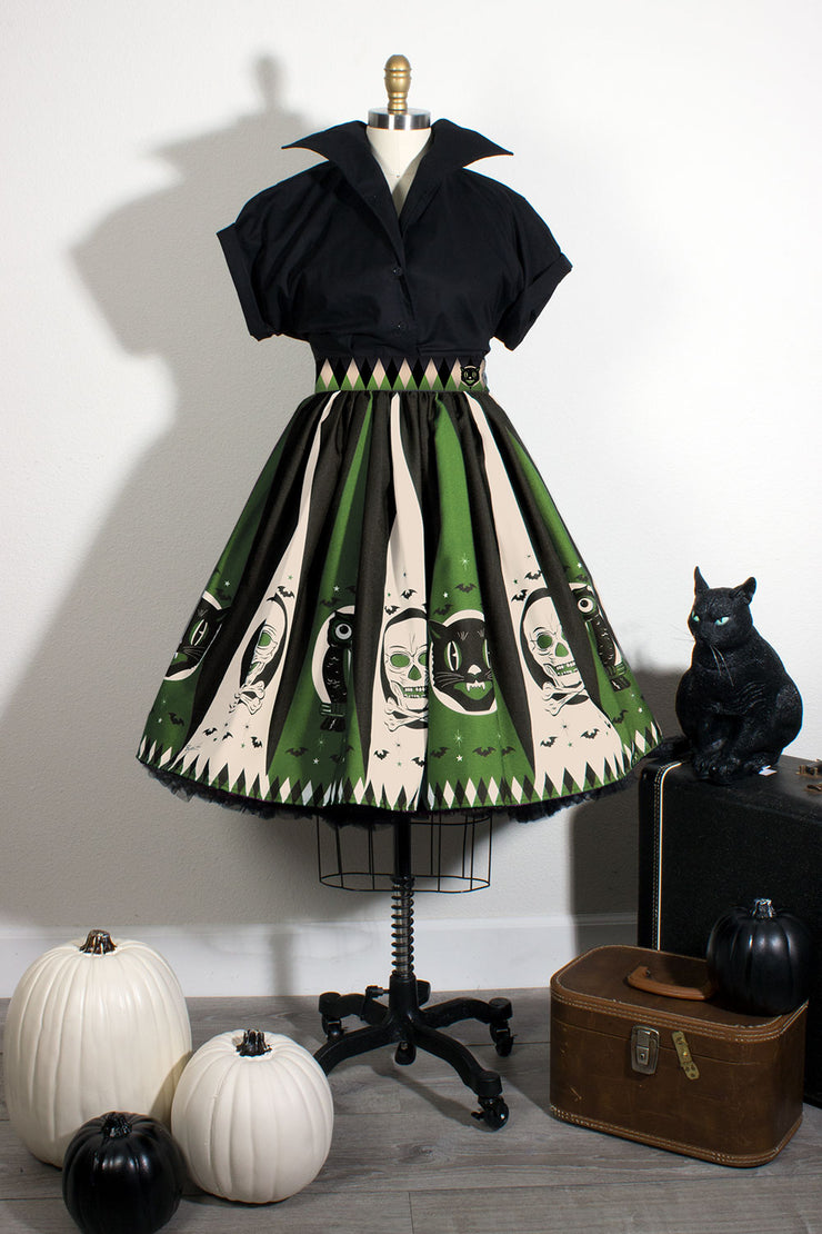 Halloween Treat Novelty Print Gathered Skirt Green
