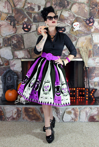 Halloween Treat Novelty Print Circle Skirt Purple