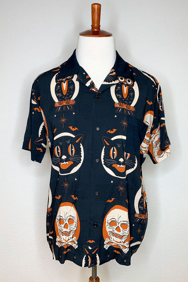 Halloween Treat Orange Rayon Button Down (1649530273847)