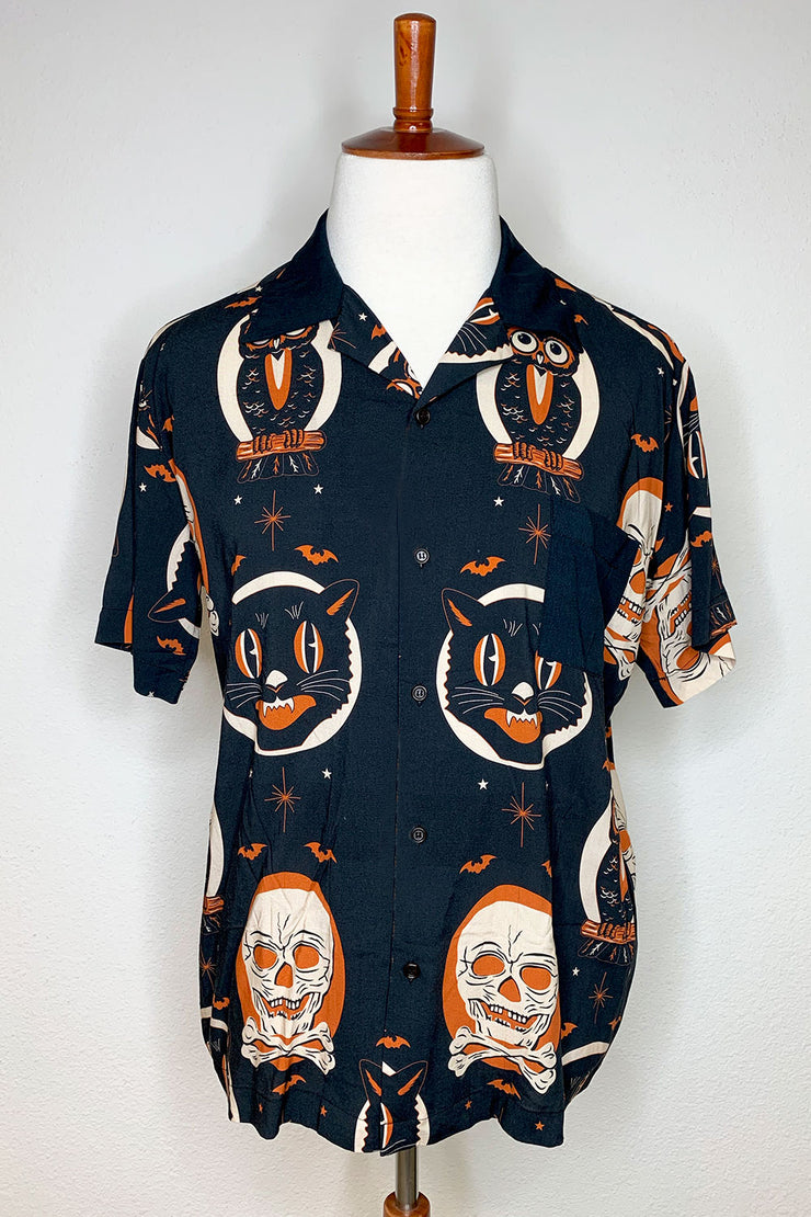 Halloween Treat Orange Rayon Button Down