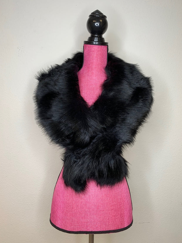 Faux Fur Shawl White or Black