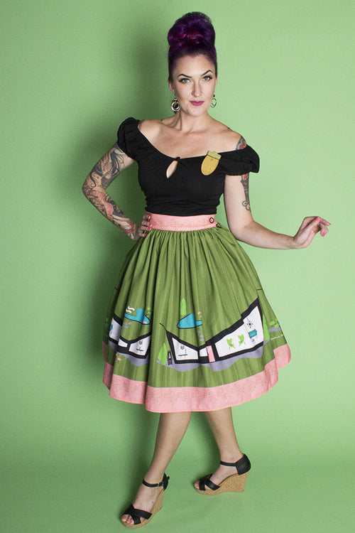 Mid Century House Novelty Print Gathered Skirt